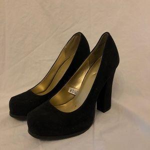 Black Suede Chunky Heels